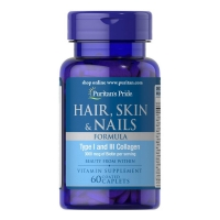 Hair, Skin & Nails Formula Type 1 and 3 Collagen 60 Tabs, Puritans Pride
