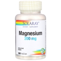 Magnesium 200mg 100 Veg Caps, Solaray
