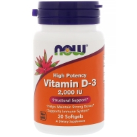 Vitamin D-3 2000IU 30 Softgels, NOW Foods