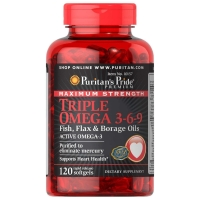 Maximum Strength Triple Omega 3-6-9 60 Softgels, Puritans Pride