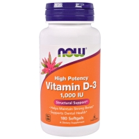 Vitamin D-3 1000IU 180 Softgels, NOW Foods