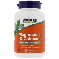 Magnesium & Calcium With Zinc and D-3 100 Tab, NOW Foods