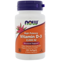 Vitamin D-3 2000IU 120 Softgels, NOW Foods
