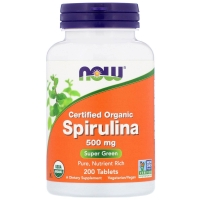 Spirulina 500mg 200 Tab, NOW Foods