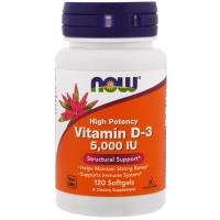Vitamin D-3 5000IU 120 Softgels, NOW Foods